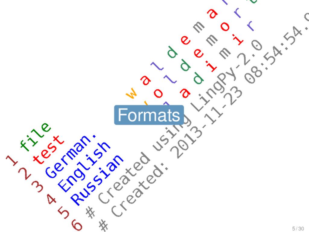 Formats Formats 5 / 30