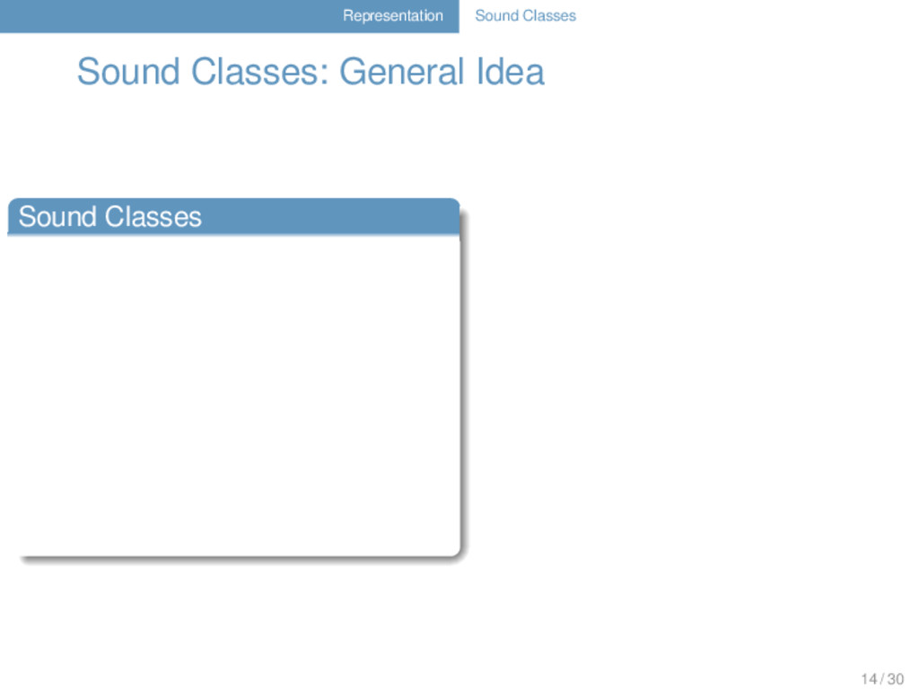 Representation Sound Classes Sound Classes: Gen...