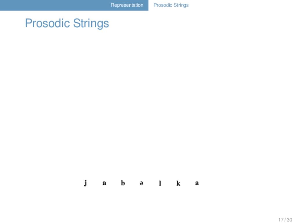 Representation Prosodic Strings Prosodic String...