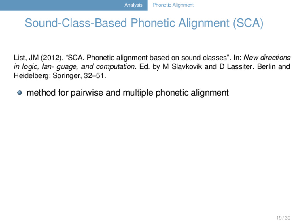 Analysis Phonetic Alignment Sound-Class-Based P...