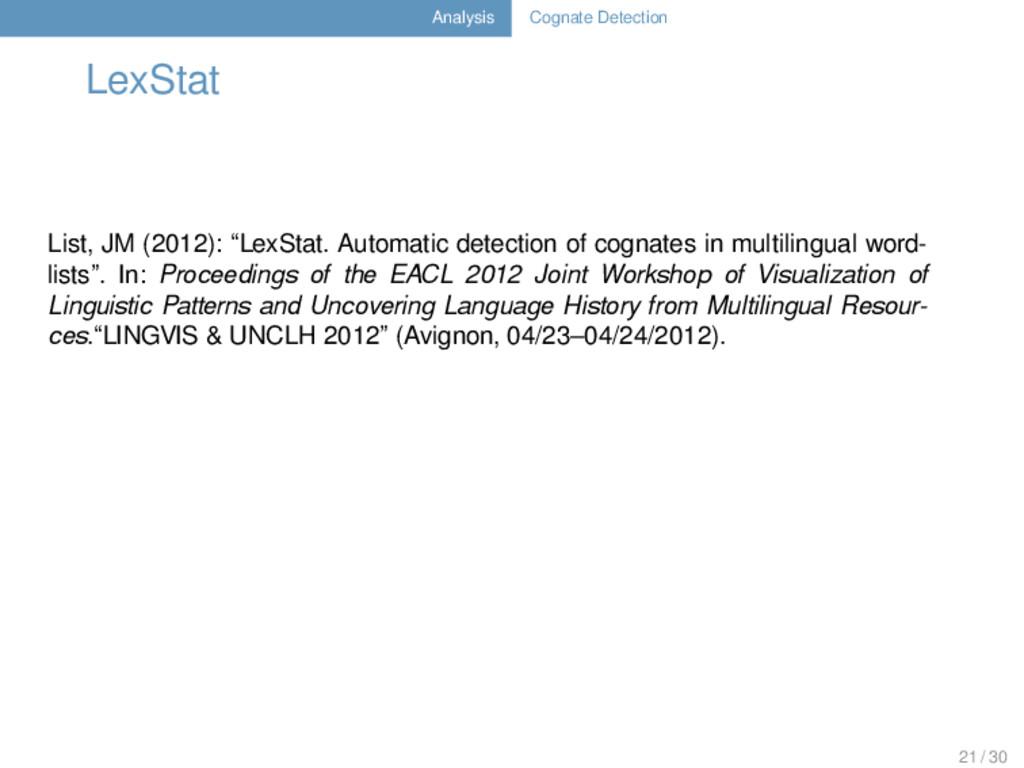 Analysis Cognate Detection LexStat List, JM (20...