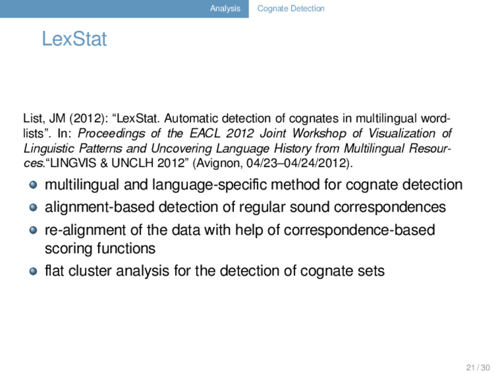 Analysis Cognate Detection LexStat List, JM (20...