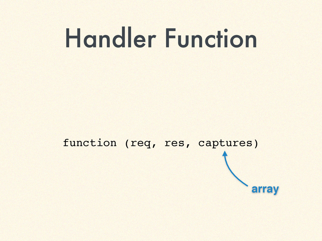 Handler Function function (req, res, captures) ...