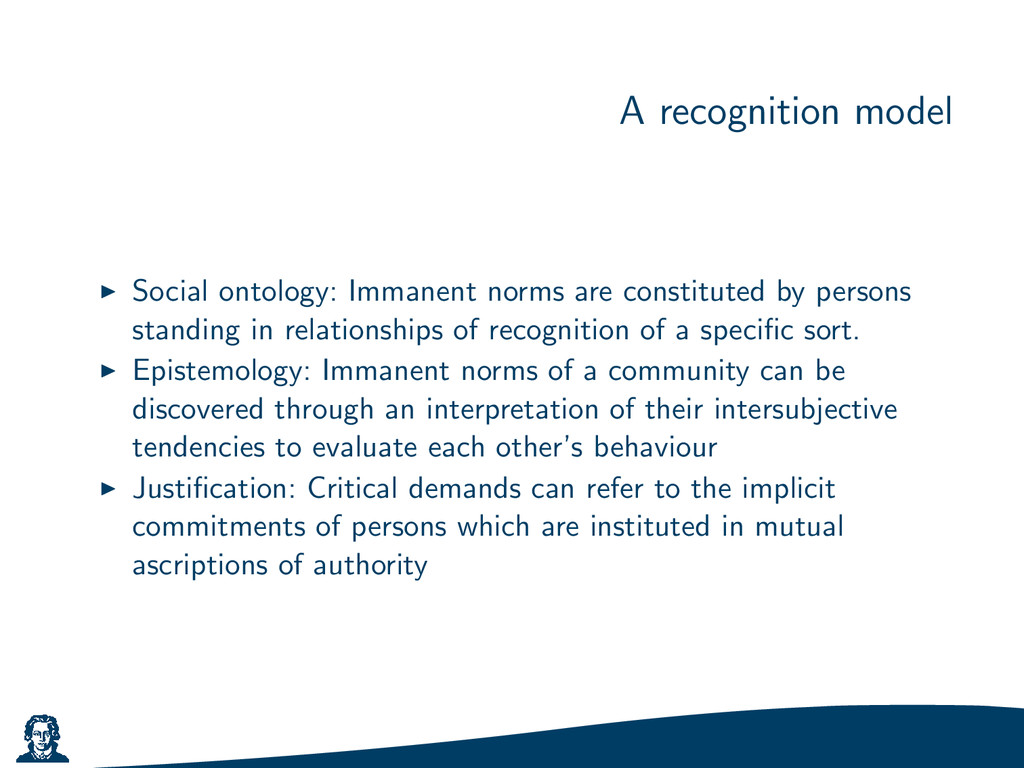 A recognition model Social ontology: Immanent n...