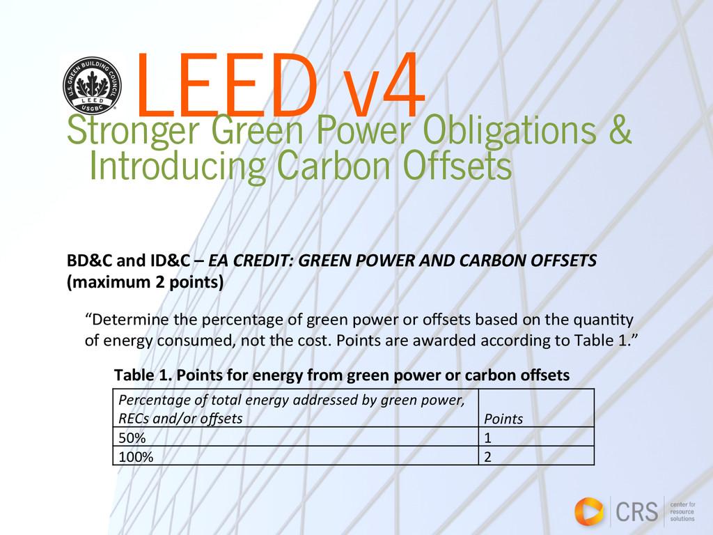 LEED v4 Stronger Green Power Obligations & Intr...