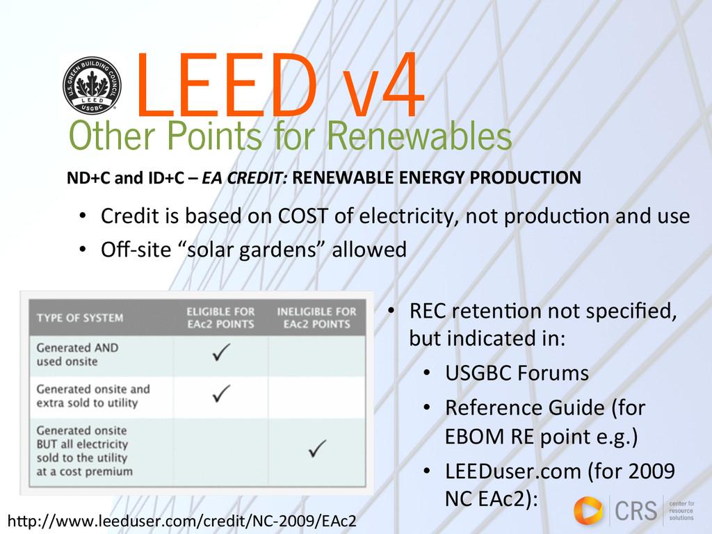 LEED v4 Other Points for Renewables • Credit...