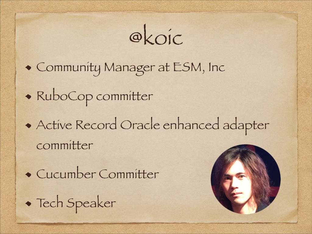 @koic Community Manager at ESM, Inc RuboCop com...