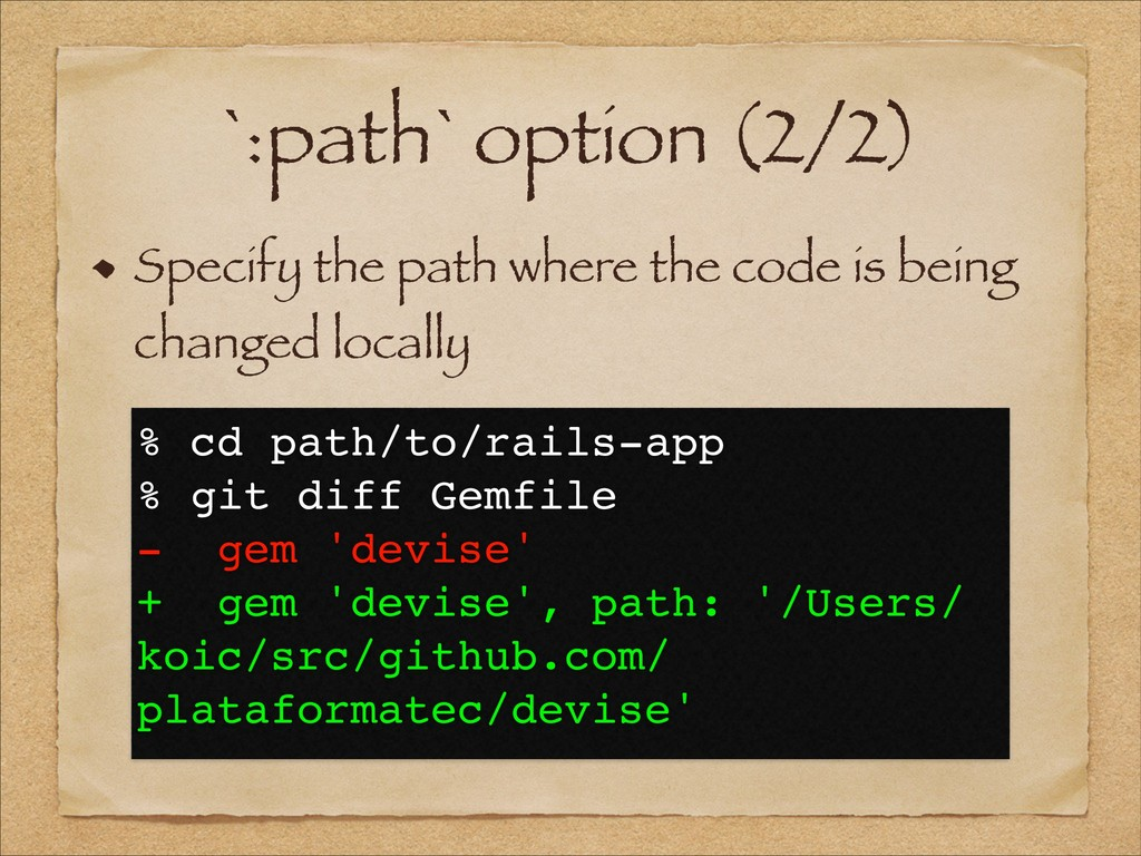 `:path` option (2/2) Specify the path where the...