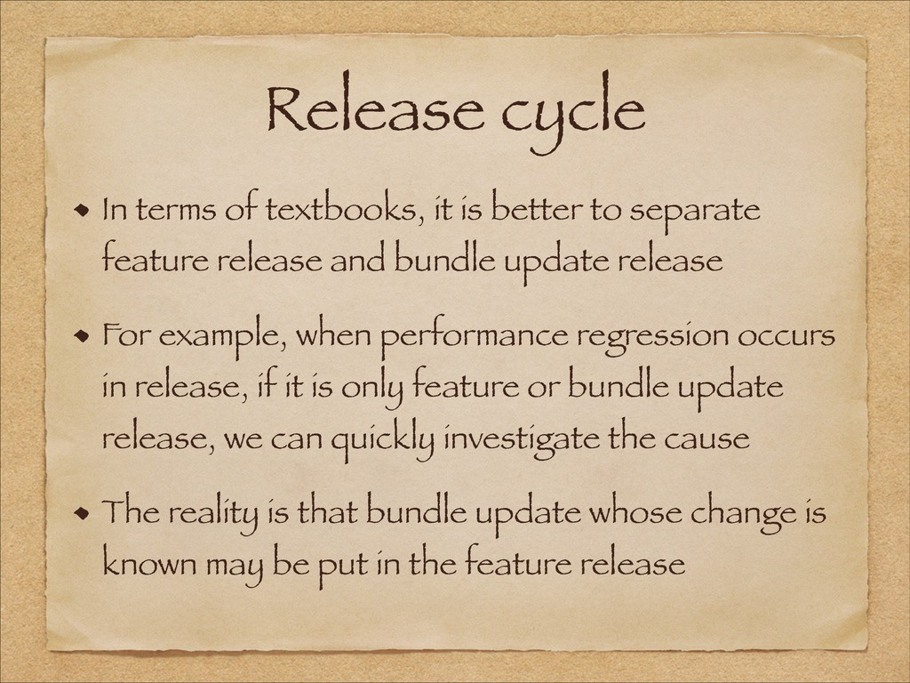 Release cycle In terms of textbooks, it is bett...