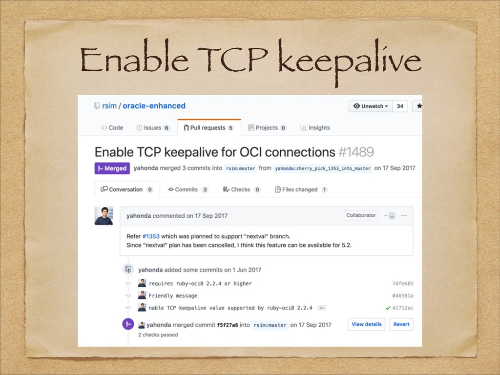 Enable TCP keepalive