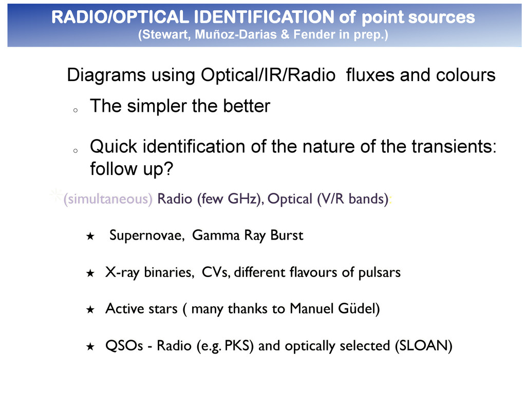 ●  RADIO/OPTICAL IDENTIFICATION of point source...