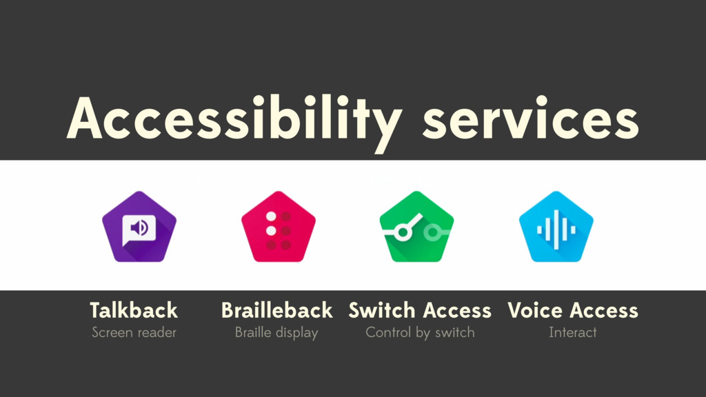 Accessibility services Talkback Screen reader B...