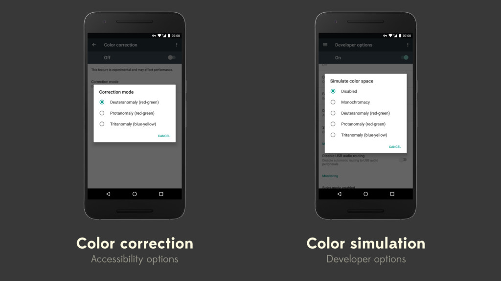 Color correction Accessibility options Color si...