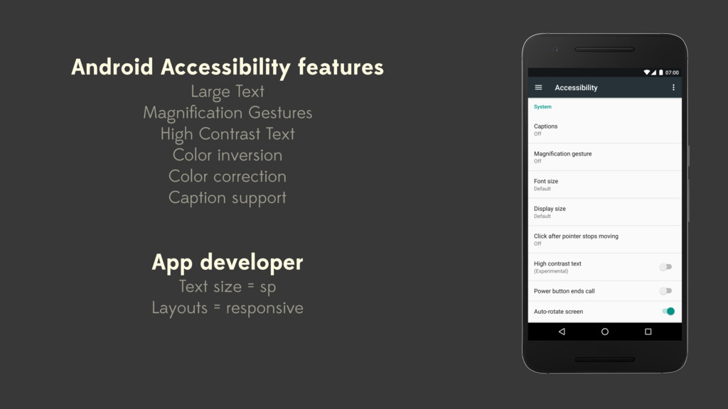 Android Accessibility features Large Text Magni...