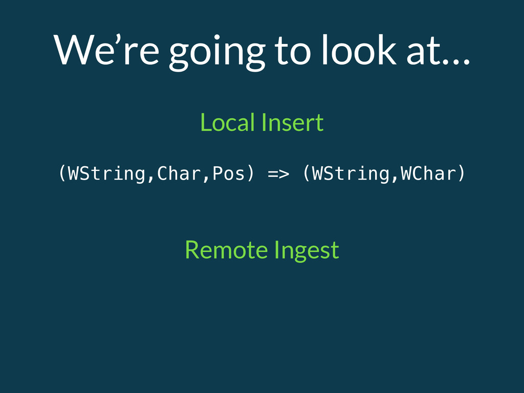 We're going to look at… (WString,Char,Pos) => (...