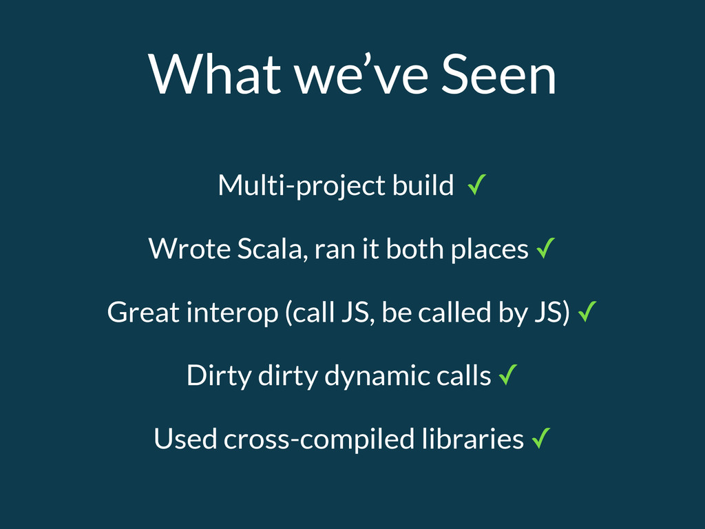 What we've Seen Multi-project build ✓ Wrote Sca...