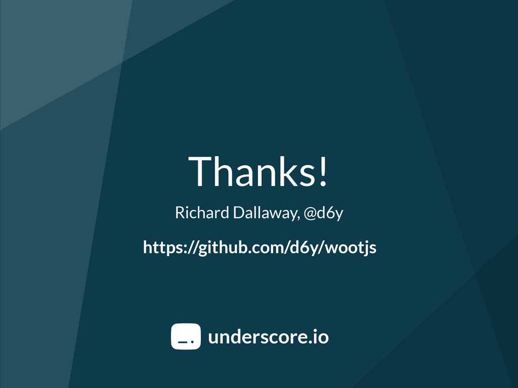 Thanks! Richard Dallaway, @d6y https://github.c...