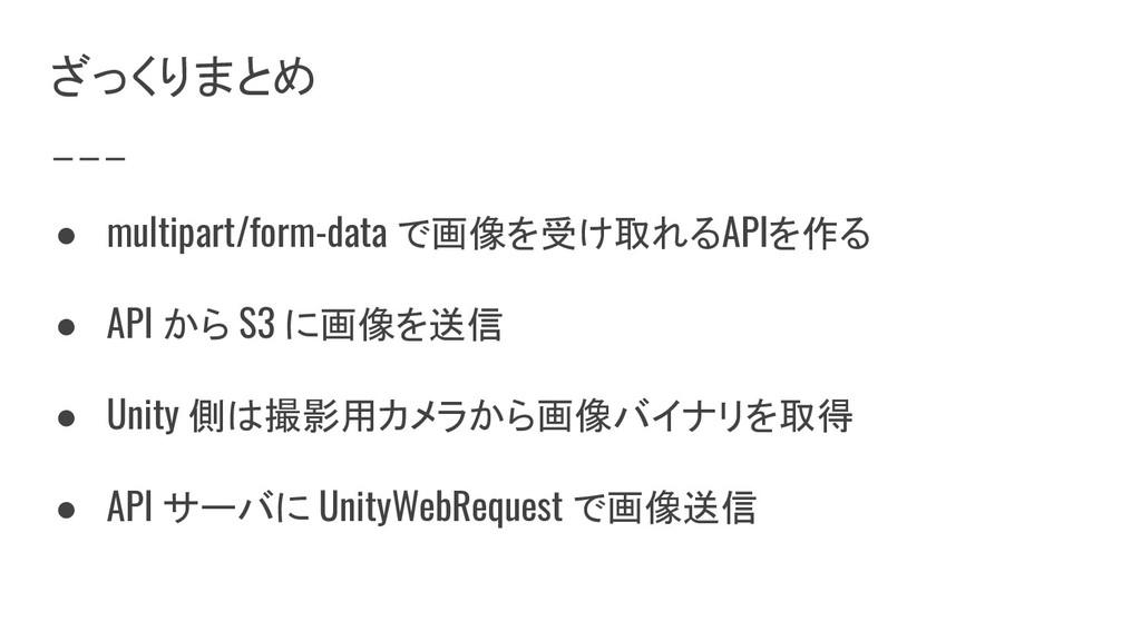 ざっくりまとめ ● multipart/form-data で画像を受け取れるAPIを作る ●...