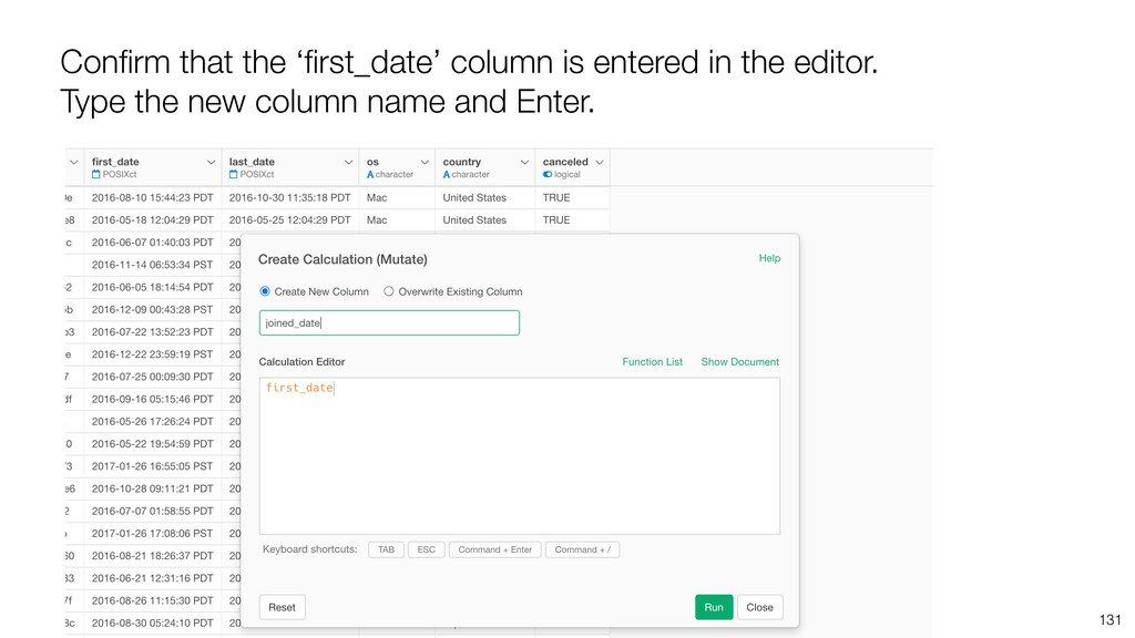 Confirm that the 'first_date' column is entered i...