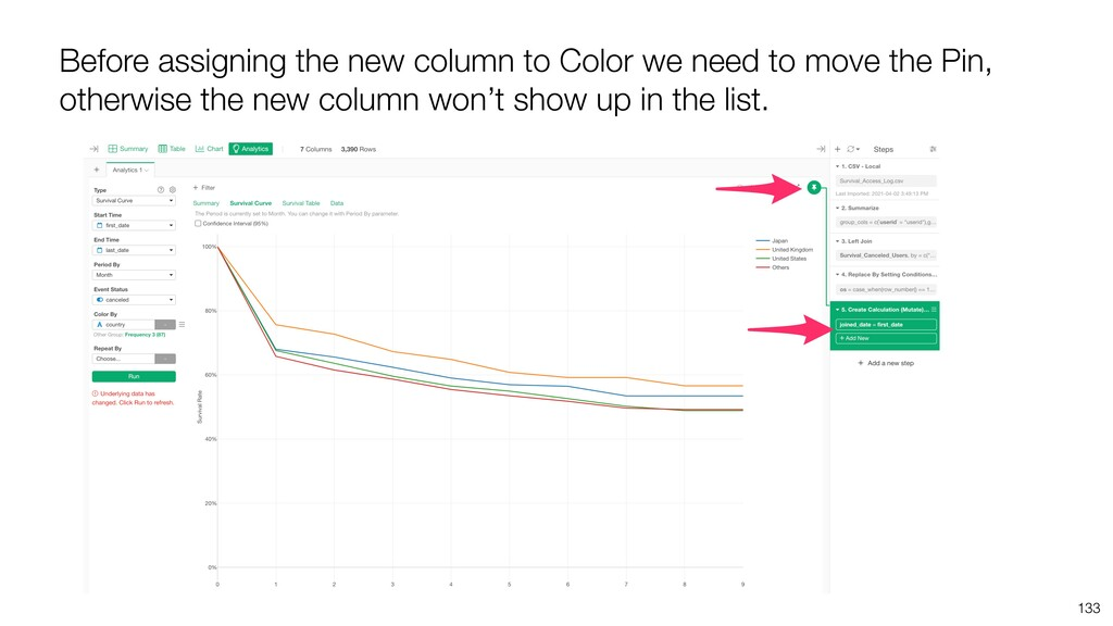 133 Before assigning the new column to Color we...