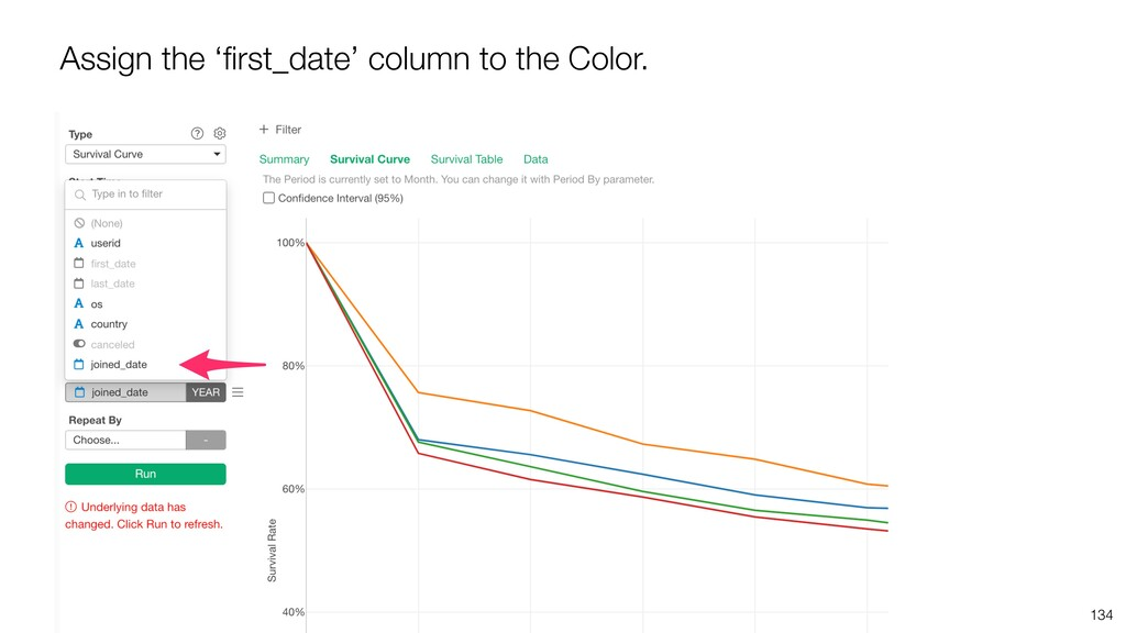 134 Assign the 'first_date' column to the Color.