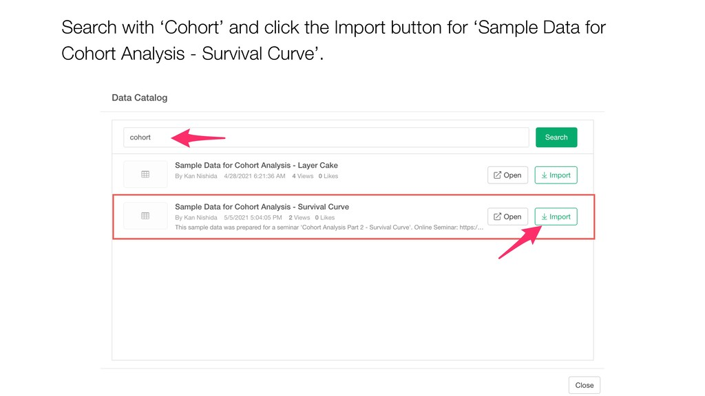 Search with 'Cohort' and click the Import butto...
