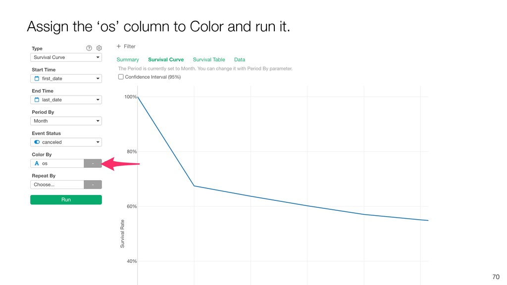 70 Assign the 'os' column to Color and run it.