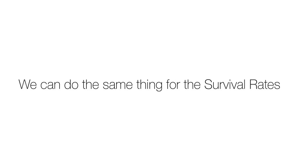 We can do the same thing for the Survival Rates