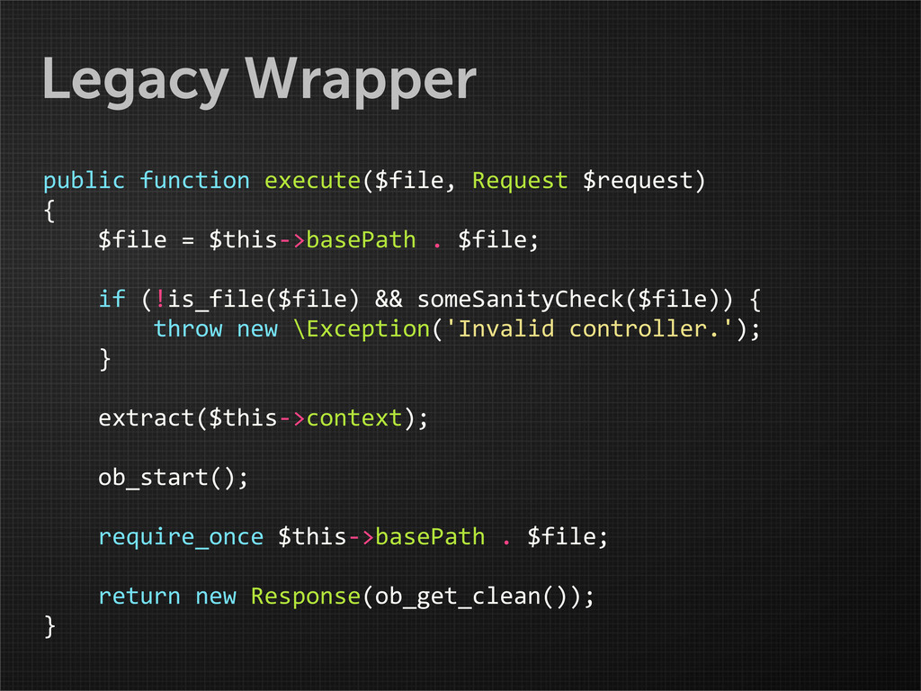 Legacy Wrapper public function execute($f...