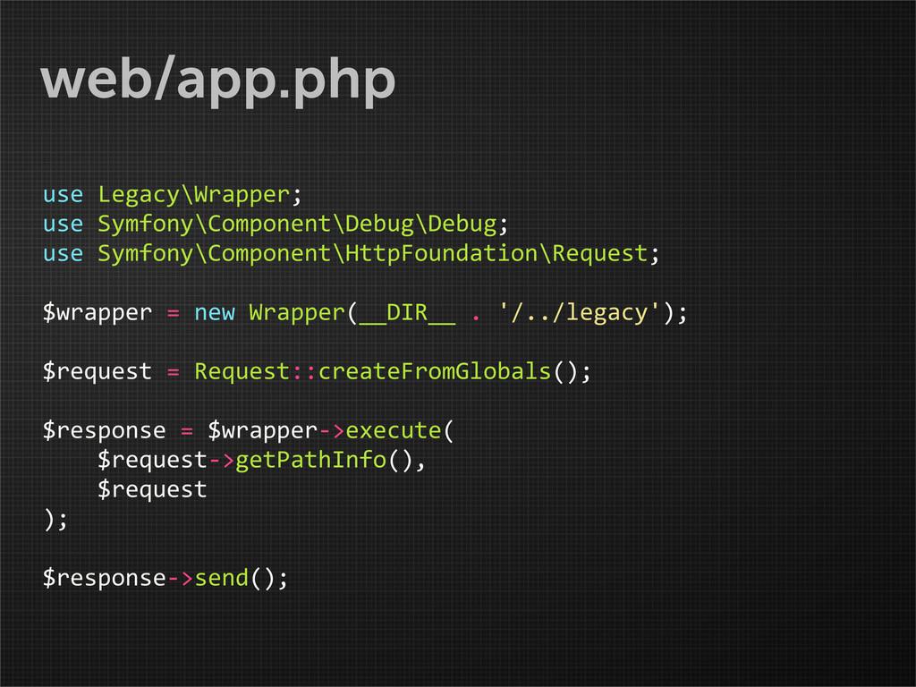 web/app.php use Legacy\Wrapper; use Symfo...
