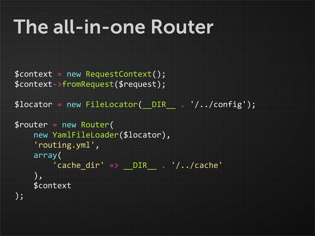 The all-in-one Router $context = new R...