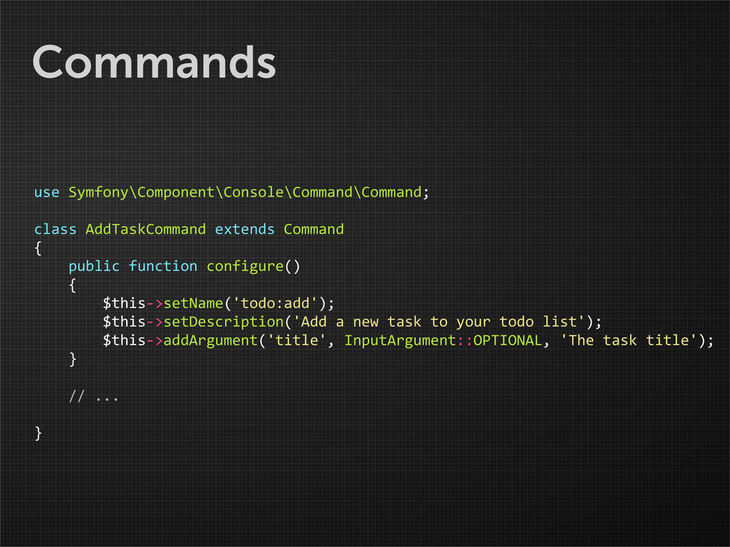 Commands use Symfony\Component\Console\Comma...