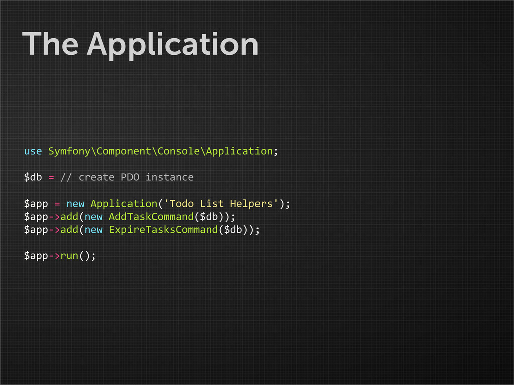 The Application use Symfony\Component\Consol...