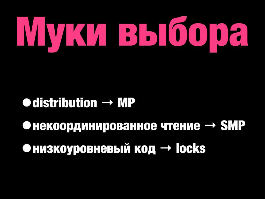 Муки выбора •distribution → MP •некоординирован...