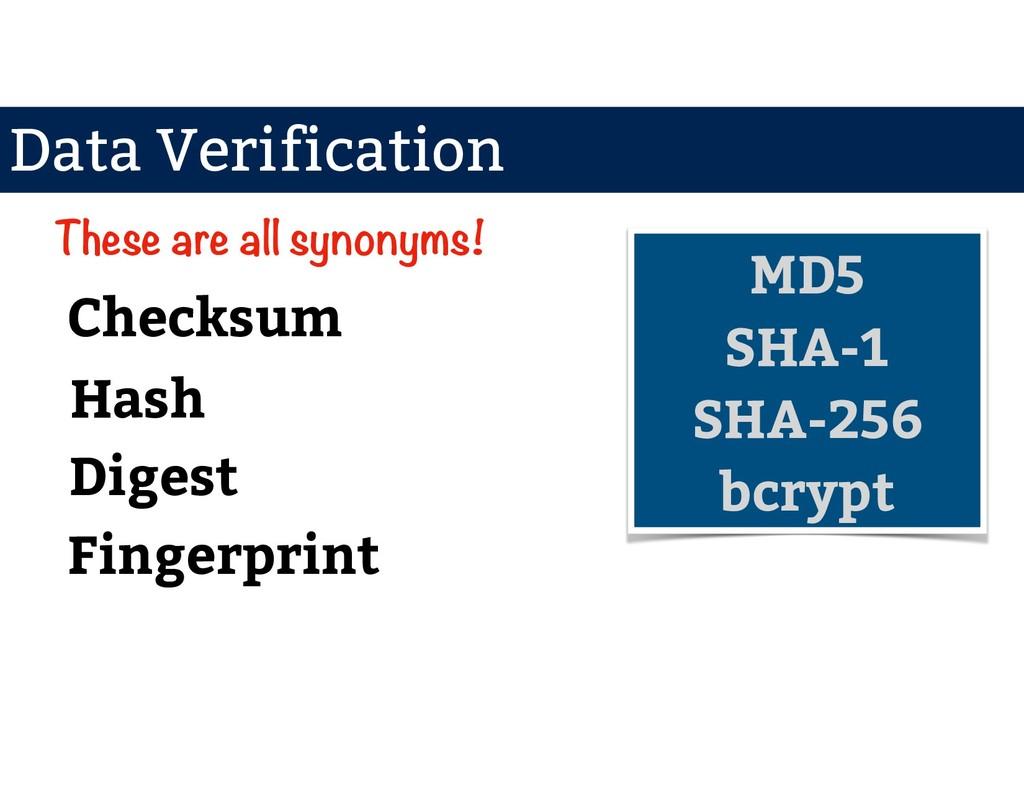 Data Verification Checksum Digest Hash Fingerpr...