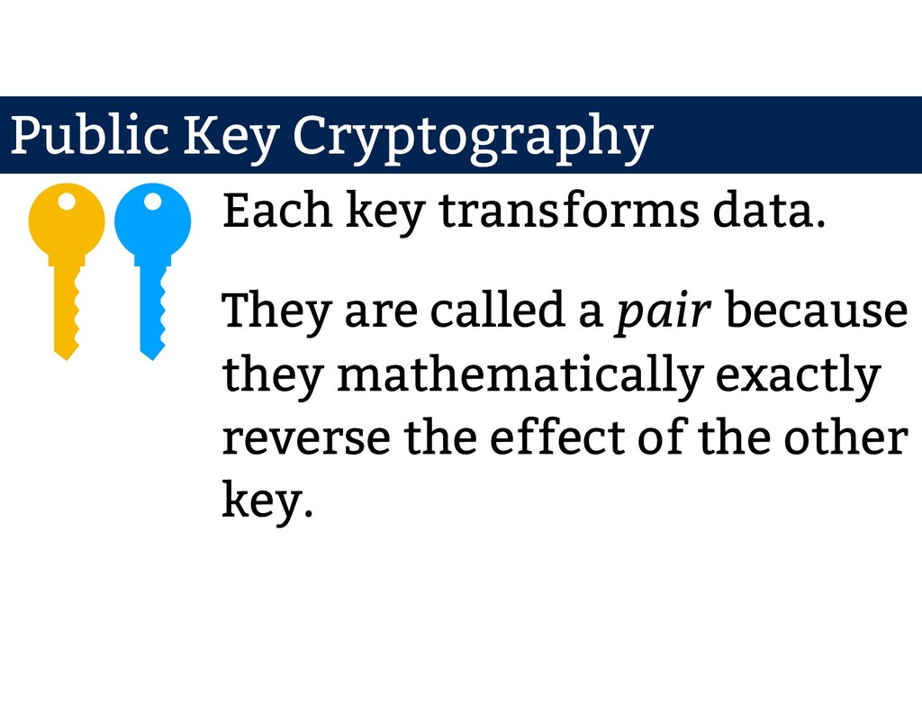 Each key transforms data. They are called a pai...