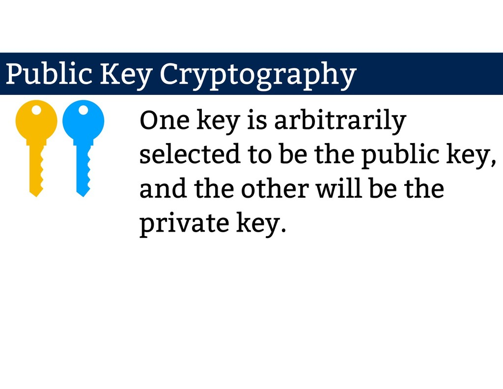 One key is arbitrarily selected to be the publi...