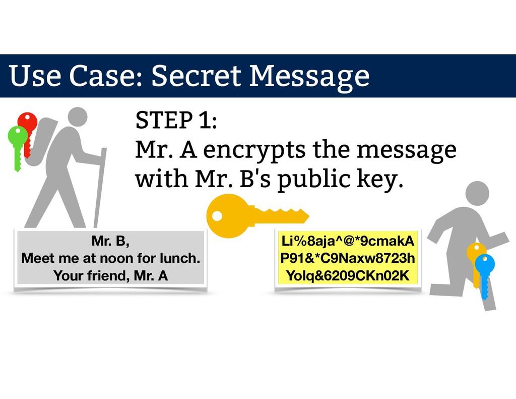 Mr. A Mr. B STEP 1: Mr. A encrypts the message ...