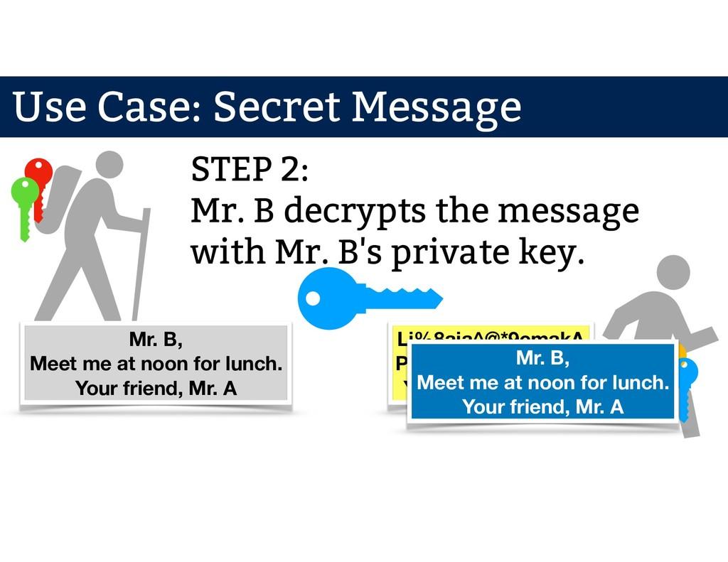 Mr. A Mr. B STEP 2: Mr. B decrypts the message ...