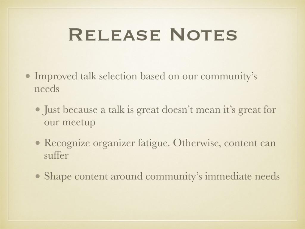 Release Notes • Improved talk selection based o...