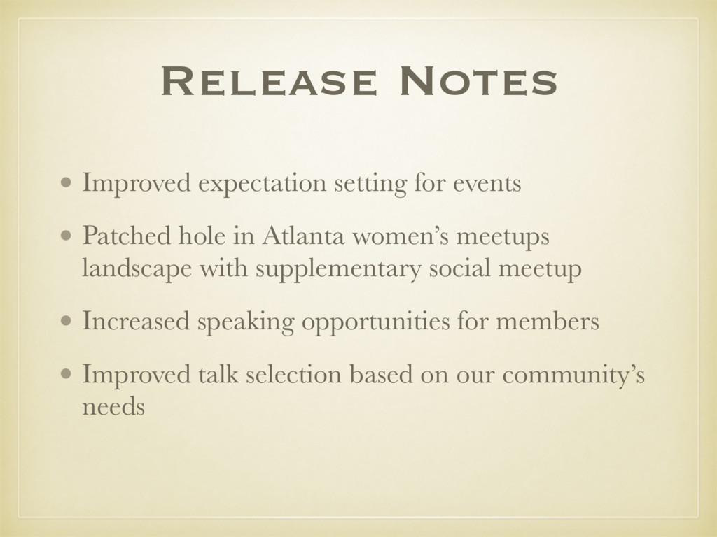 Release Notes • Improved expectation setting fo...