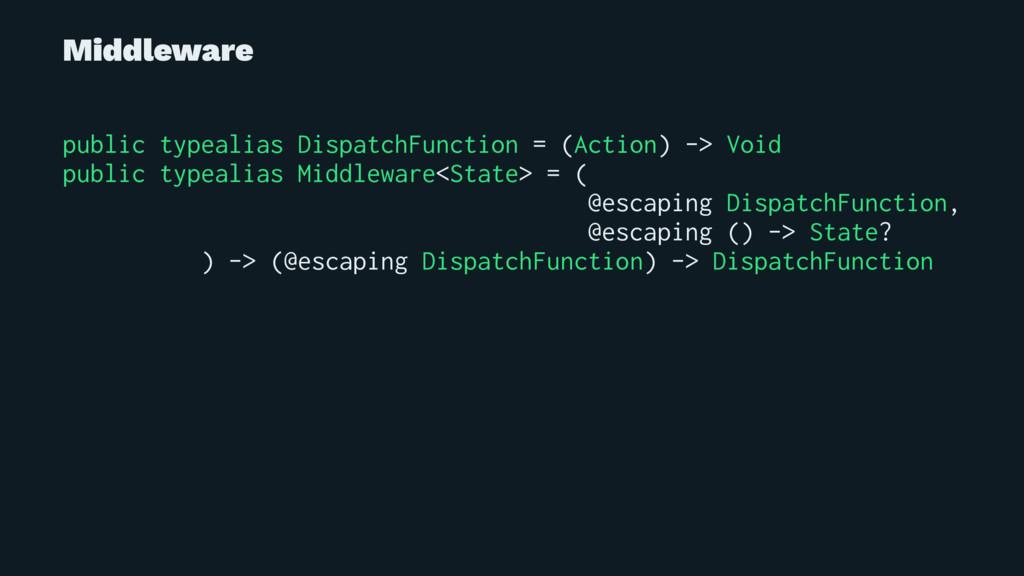 Middleware public typealias DispatchFunction = ...