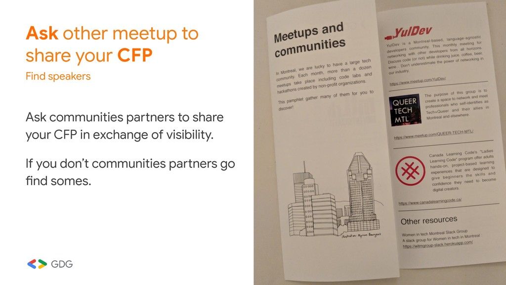 Ask other meetup to share your CFP Find speaker...