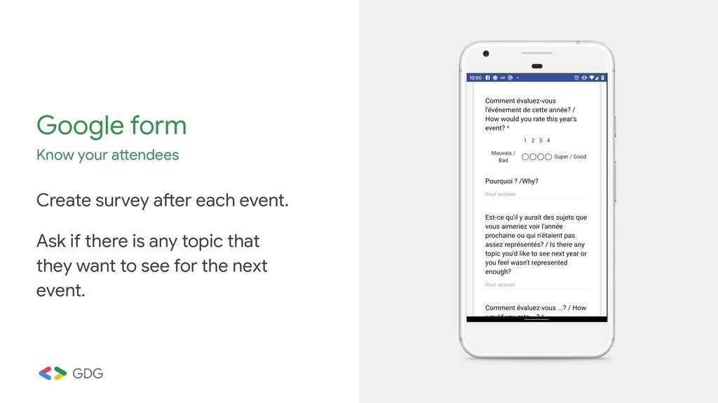 Google form Know your attendees Create survey a...