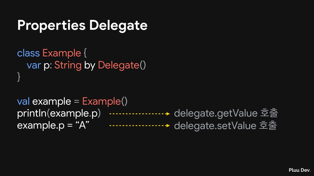 Pluu Dev. Properties Delegate class Example {  ...