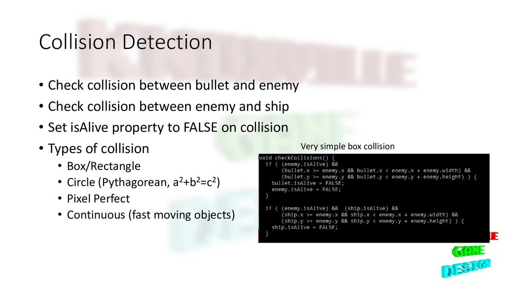 Collision Detection • Check collision between b...