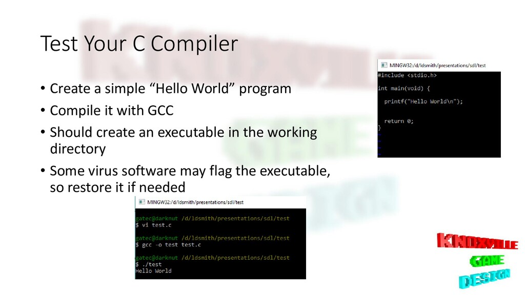 """Test Your C Compiler • Create a simple """"Hello W..."""