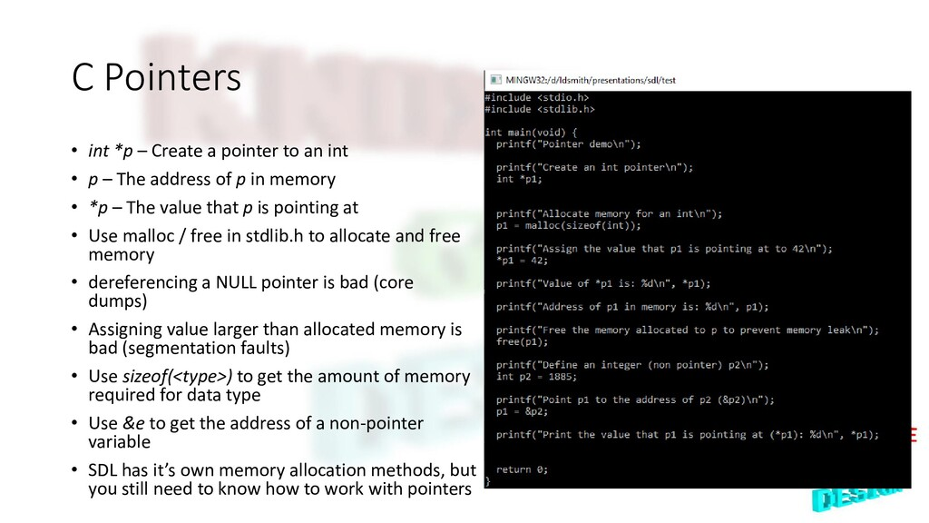 C Pointers • int *p – Create a pointer to an in...
