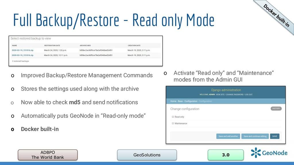 Full Backup/Restore - Read only Mode ADBPO The ...