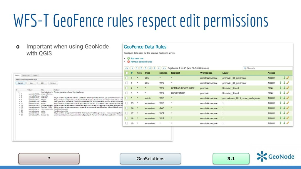 ? GeoSolutions 3.1 WFS-T GeoFence rules respect...